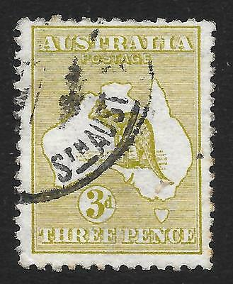 Australia 1913 3d Yellow-Olive with Inverted Watermark SG 5dw (Fine Used)