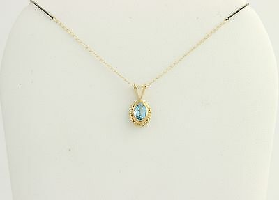 "New Blue Topaz Pendant & Necklace 10k Yellow Gold Oval Solitaire 18"" Curb Chain"