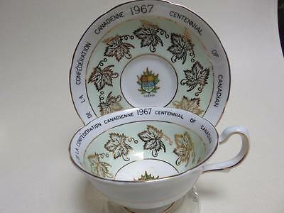 Royal  Grafton Cup Saucer Canadian Confederation 1967 Gold Maple Leaves Coat Arm