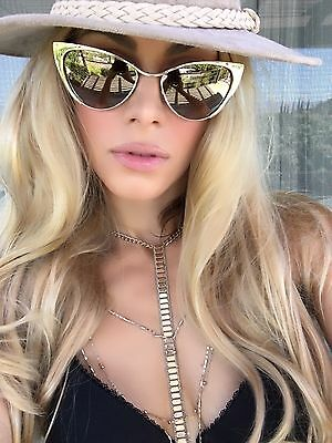 Cat Eye Nastasya Gold Mirrored Mirror Reflective Lenses Metal Frame Sunglasses