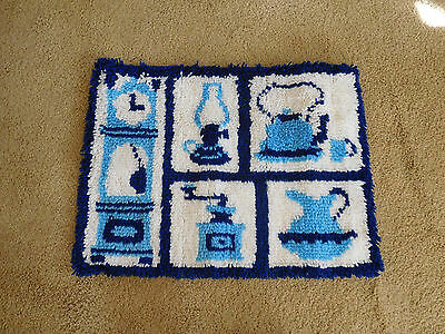"""Vintage Mid Century Hooked Rug Wall Hanging - Kitchen Theme- 27"""" x 21""""- FREE S&H"""