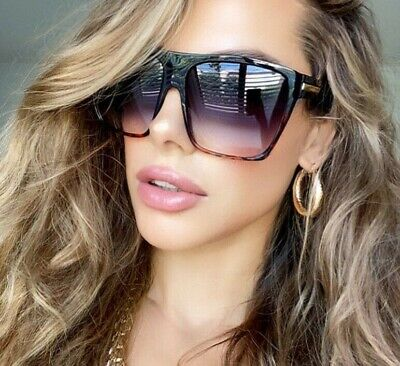 "Flat Top Huge Big Oversized XXL Square Women Sunglasses ""Lauren"" Style Mirror"