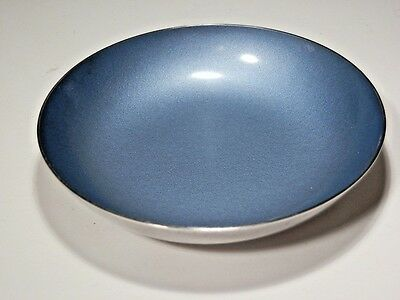 """Reed & Barton Silverplate 4 1/4"""" Coin Bowl With Blue Enamel Interior"""