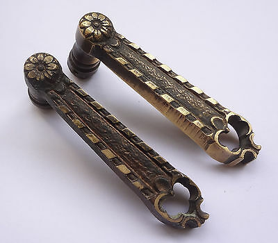 Lot 2 Antique Solid Brass Door Lever Handles Set 4'' Free Shipping # I