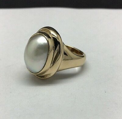 James Avery 14K Yellow Gold Mabe Pearl Ring Size 7 HEAVY