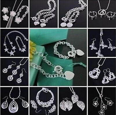 Xmas Gift Solid Silver 925Jewelry Sets Earrings/Necklace/Bracelet +Gift Box