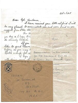 WW2 Baalbek Tel Aviv Church of Scotland Huts Field Post Office Censored Cover