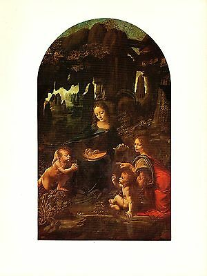 "1974 Vintage LEONARDO DA VINCI ""MADONNA OF THE ROCKS"" COLOR offset Lithograph"