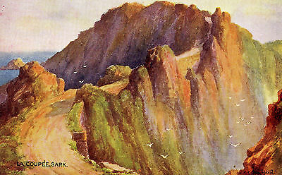 Sark -  'La Coupee'. From a watercolour drawing by Clifford George Blampied