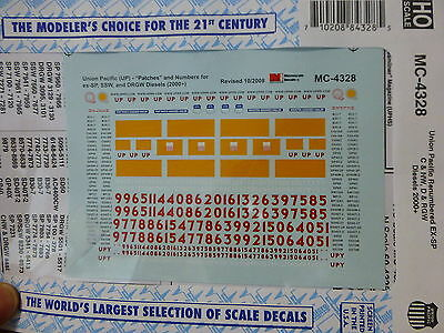 """Microscale Decal HO #MC-4328 Union Pacific - UP -- Mini-Cal """"Patch"""" Renumbered E"""