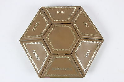 Vintage Hexagon Desk Caddy Organizer W/ 7 Lidded Compartments Stamps, Clips More
