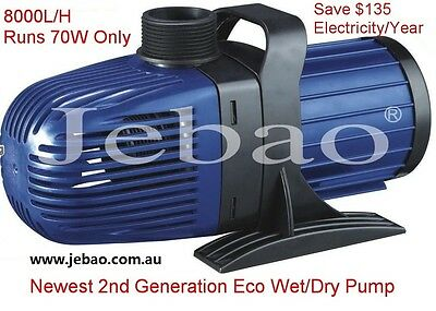 New Jebao CM 8000 L/H 70w Energy-Saving Eco Pump With 5M Cable + 1 Year Warranty