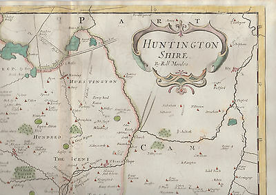 1722 Antique Map of HUNTINGDONSHIRE, ENGLAND - Robert Morden- Camden's Britannia