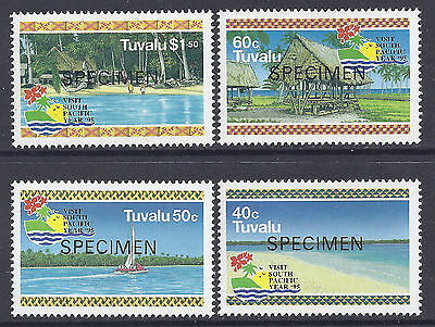 1995 Tuvalu Visit South Pacific Year Set Of 4 Mint Mnh Specimen Ovpt