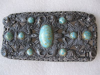 BELT BUCKLE  VICTORIAN TURQUOISE DECORATIVE Rare
