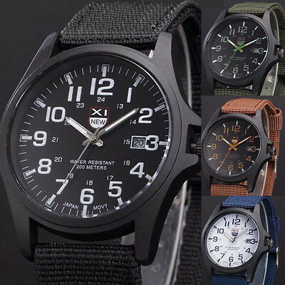 Military Leather Waterproof Date Watches Army Quartz Men's Sports Wrist Watches