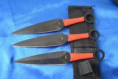 Sharp Brand New  Double Edge Nijia Throwing Knife Set With Red Rope