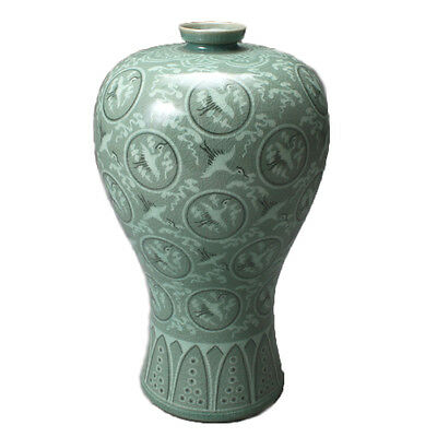 Doyenong Celadon Prunus Vase with Inlaid Cloud and Crane Design