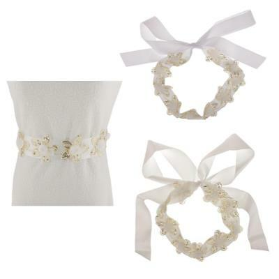 High Quality White Ivory Flower Sequin Wedding Dress Belt Bridal Bridesmaid Sash