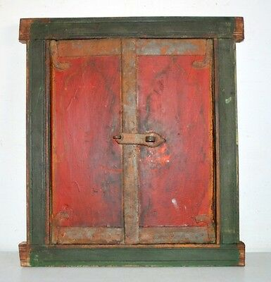 1810's Antique Original Old Mughal Period Hand Painted Window Door With Frame