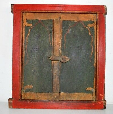 1840's Antique Original Old Mughal Period Hand Painted Window Door With Frame