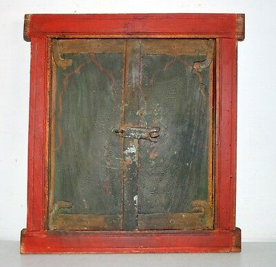 1800's Antique Original Old Mughal Period Hand Painted Window Door With Frame