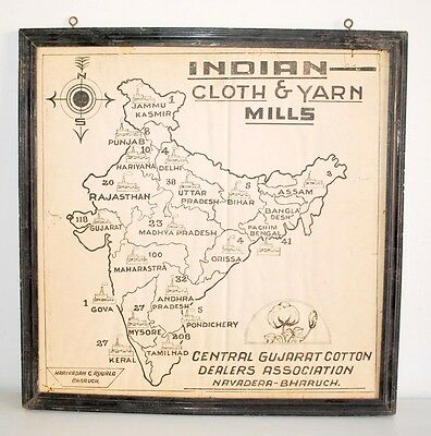 Antique Old Rare Collectible Indian Cloth & Yarn Mills Map Of India