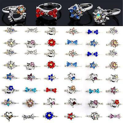 Wholesale Mix Lots Crystal Children Kids Gold Plated Adjustable Rings