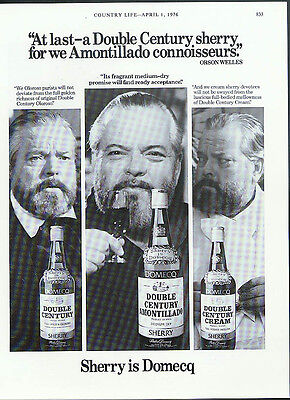 Orson Welles for Domecq Double Century Amontillado Sherry ad 1976