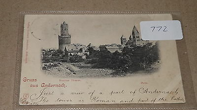 Old postally used postcard our ref#772 Gruss aus Andernach Runder Thurm 1912