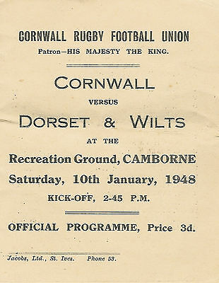 Cornwall vDorset & Wilts 10 Jan 1948 RUGBY PROGRAMME