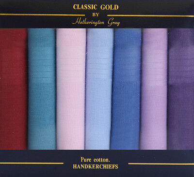 7 Pack Mens Assorted Coloured Handkerchiefs - Xmas Gift