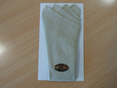 An Irish Linen Pocket Square- Point Fold - Oatmeal