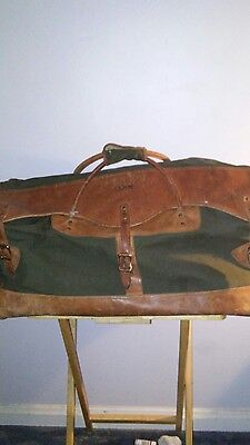 Vintage Ll Bean Distressed Leather Canvas Travel Duffle Bag