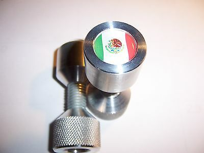 "Two Hole Pins. 1/2"" to 1-1/8"" Knurled, Aluminum,MEXICO Flag. By Jermamma."