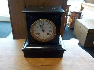 Antique Art Deco Slate Mantle Clock With Key Working Order Robinson's Clock