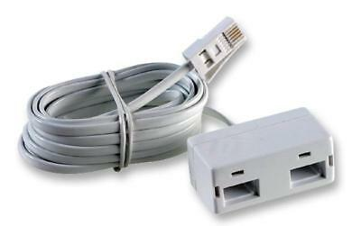 White BT Plug to Double Socket Adaptor (BT631A) Telephone Cable - 3m