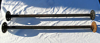 """2 Antique Vtg 24 3/8"""" Metal Pipe Clothes Closet Rods Bench Seat Steampunk Posts"""