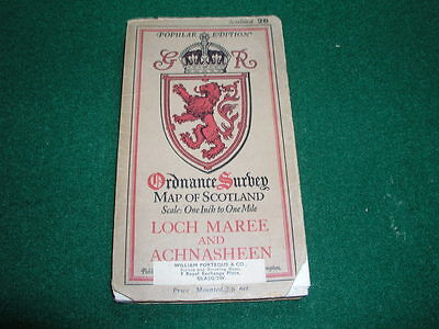 Vintage Ordnance Survey Map of Scotland on Cloth Loch Maree and Achnasheen 26