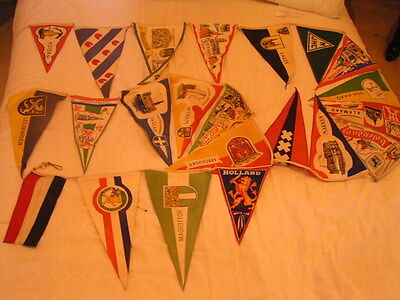 Collection of 22 Vintage Pennants / Bunting Flags European Holland Touring Club