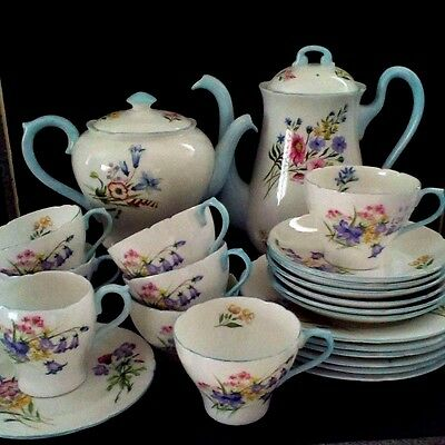 "Shelley  ""Wild Flowers"" Tea and Coffee set or 6"