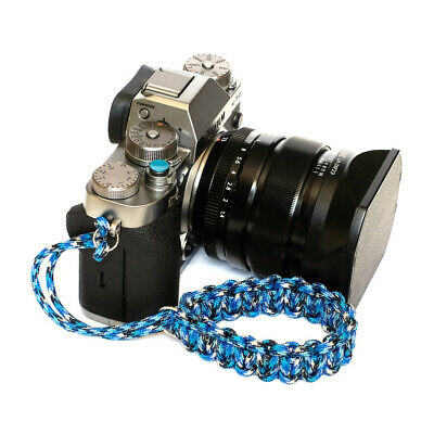 """Blue Flame"" Paracord Wrist Strap for DSLR Compact Camera Fuji Canon Nikon Sony"