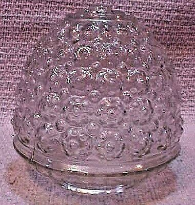 Clear beehive honeycomb textured vintage glass light fixture globe shade FREE SH