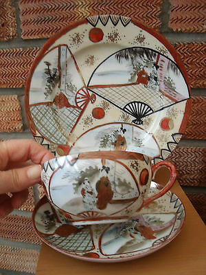 Japanese Kutani Cup, Saucer & Side Plate trio c1930s