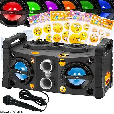 Karaoke Anlage Smiley Sticker Bluetooth Stereo Mikrofon Kinder USB Radio Musik