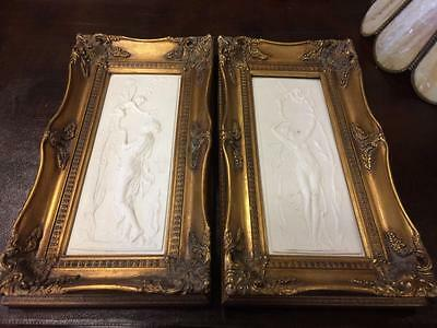 Pair Of Reproduction Porcelain Wall Plaques In A Gild Styled Frame