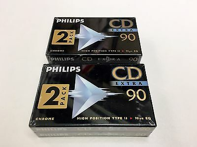 Pack 4  K7 Philips Cd Extra 90 Chrome Type Ii  Neuf Mint