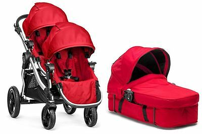 Baby Jogger City Select Twin Double Stroller Ruby w/ Second Seat and Bassinet