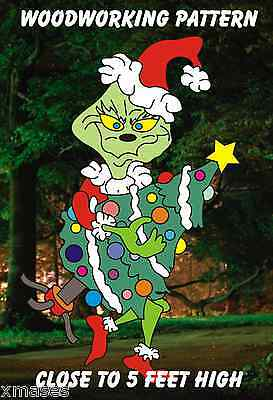 GRINCH STEALING TREE CHRISTMAS WOODWORKING PATTERN,plan, craft about 5 fT. hIgh