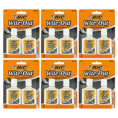 Bic Wite-Out Quick Dry Correction Fluid, 20ml Bottle, White, Pack of 12